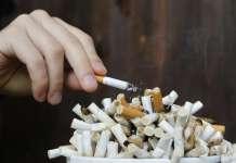 Сигарета и окурки.