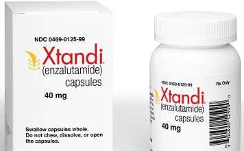 Упаковка препарата «Кстанди» (Xtandi, энзалутамид).