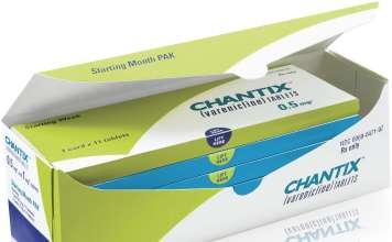 Упаковка препарата «Чантикс» (Chantix, варениклин).