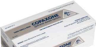 Упаковка препарата «Копаксона» (Copaxone, глатирамера ацетат).