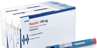 Упаковка препарата «Репата» (Repatha, эволокумаб).