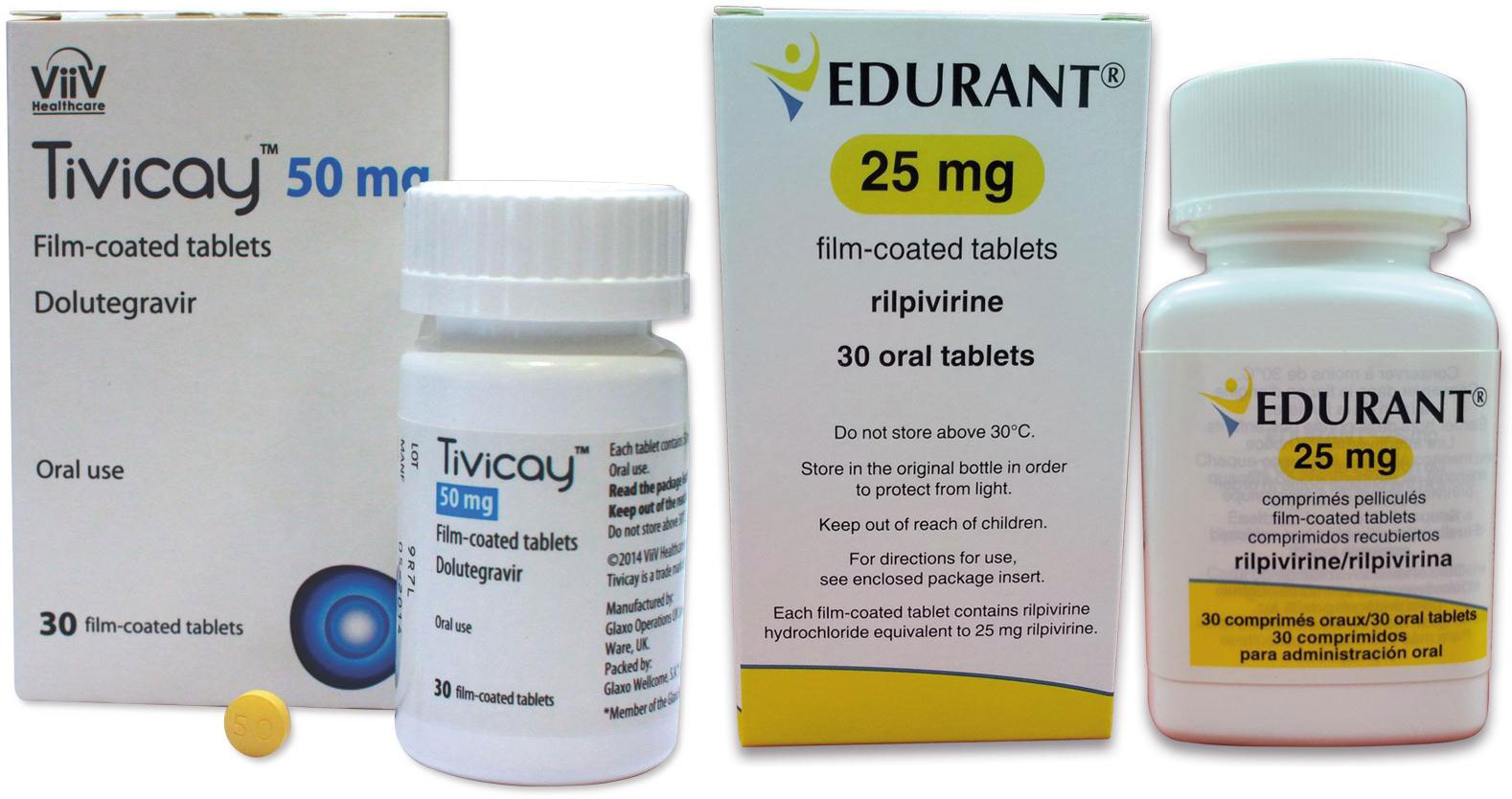 Упаковки препаратов «Тивикай» (Tivicay, долутегравир) и «Эдюрант»(Edurant, рилпивирин).