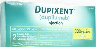 Упаковка препарата «Дупиксент» (Dupixent, дупилумаб).