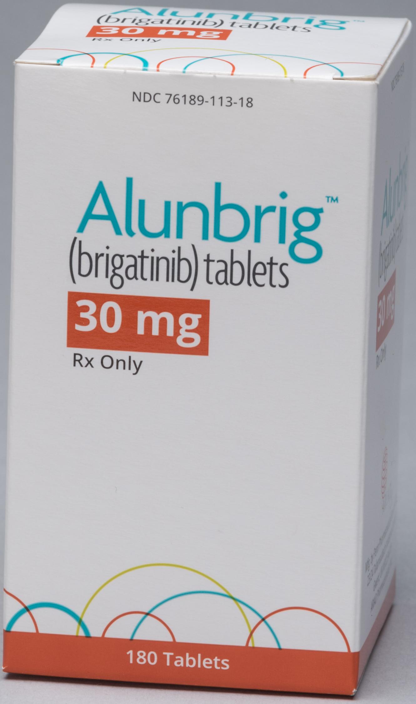 Упаковка препарата «Аланбриг» (Alunbrig, бригатиниб).