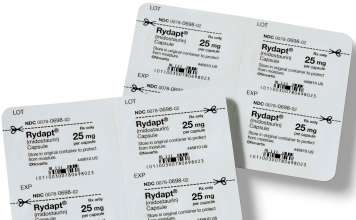 Упаковка препарата «Райдапт» (Rydapt, мидостаурин).