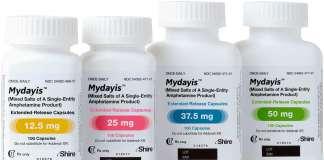 Упаковка препарата «Майдейис» (Mydayis, смесь солей амфетамина).