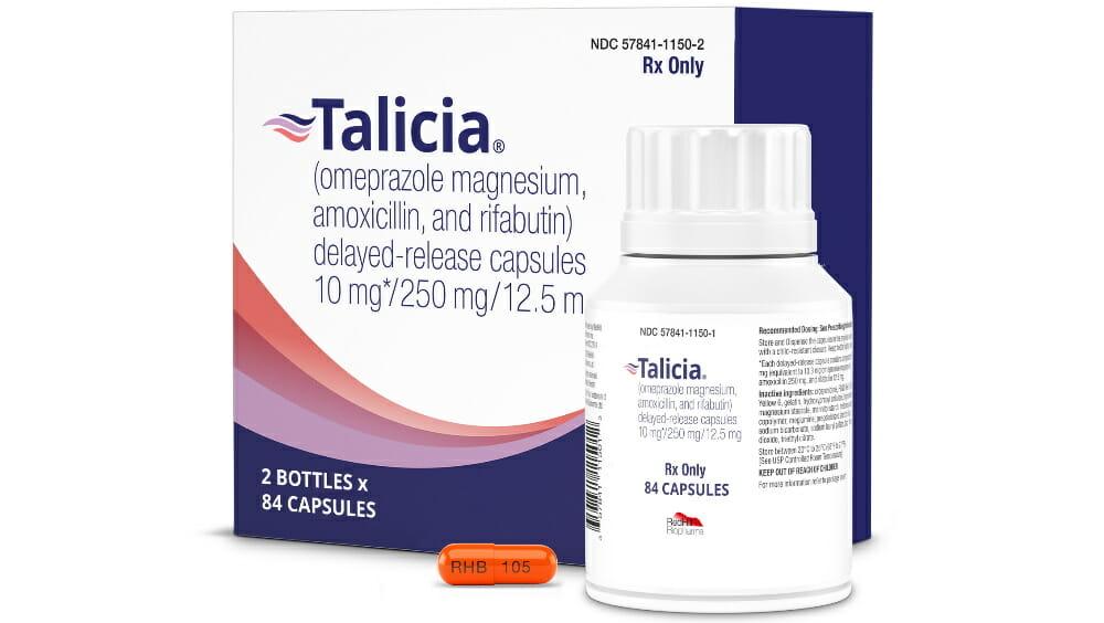 «Талисия» (Talicia, омепразол + амоксициллин + рифабутин, 10/250/12,5 мг).